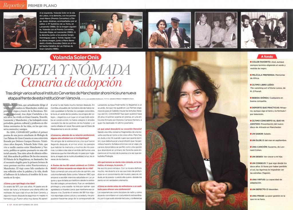 Entrevista a Yolanda Soler en C7, La revista canaria.