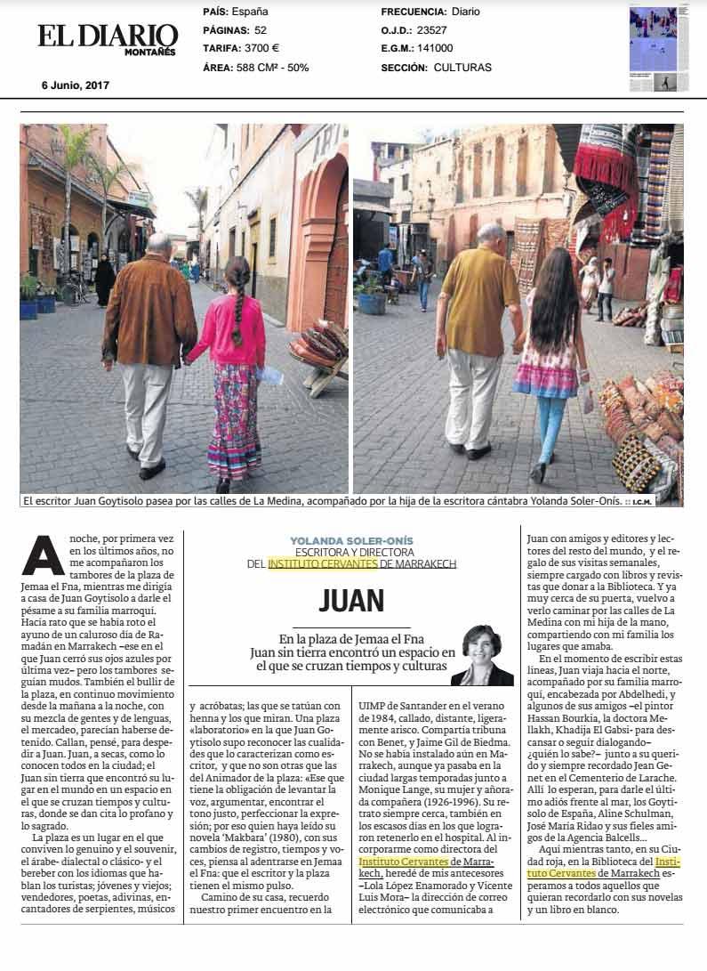 Imagen del artículo de la edición impresa ilustrada con fotografías de Juan Goytisolo con la hija de la escritora Yolanda Soler paseando por las calles de La Medina